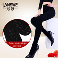 LANSWE high quality 12000D thickening women winter warm tights sexy lady foot massage and anti-slip stocking langsha