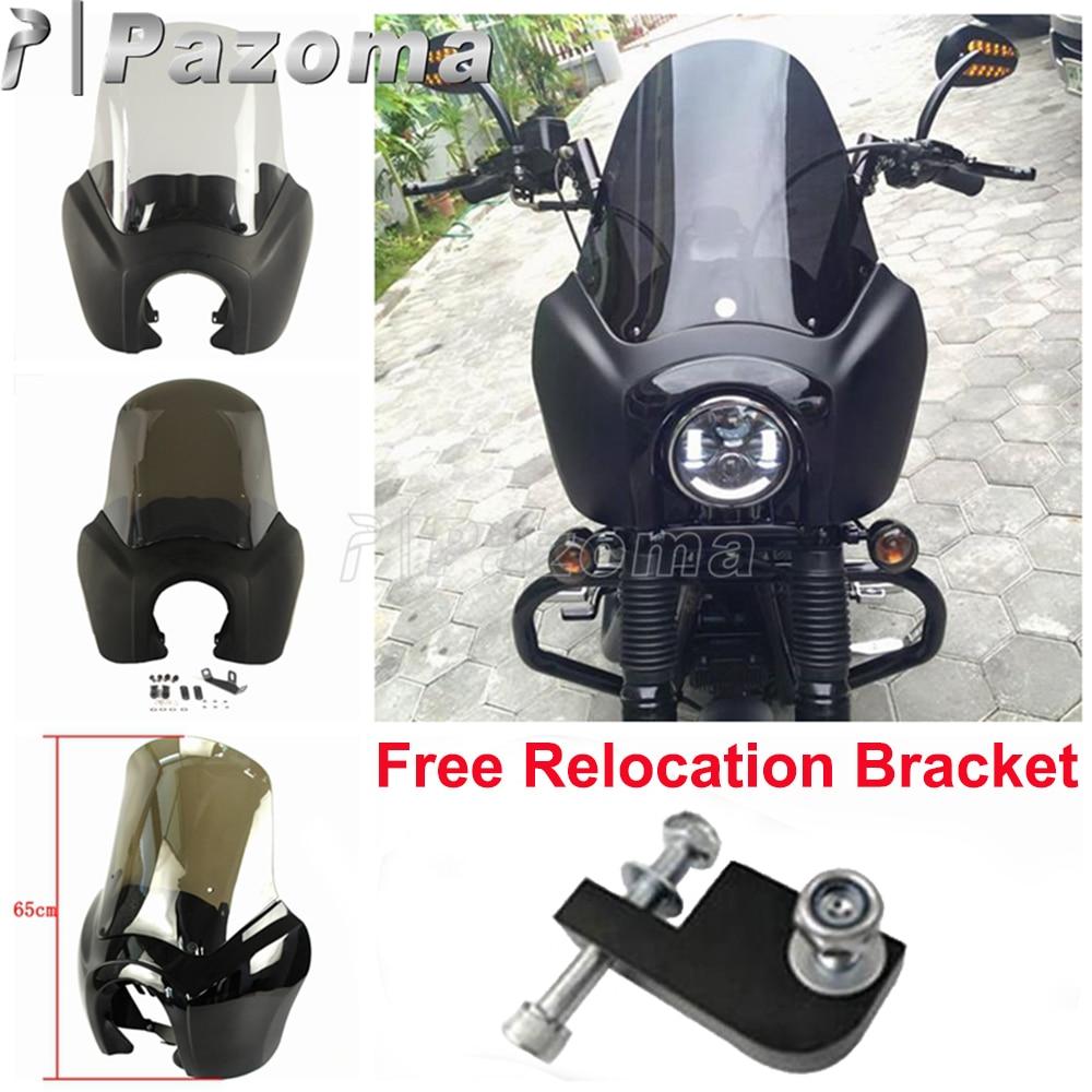Smoke Motorcycle Custom Front Headlight Fairing Windshield For Harley Dyna Street/Fat Bob Low Rider FXR FXDXT 2006-2017