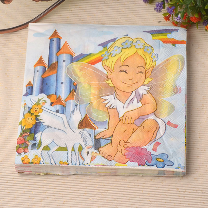 33*33cm 20 PCS/Pack Angel Childrens Party Paper Napkin Party 100% Virgin Wood Paper Napkin for party dinner decoration