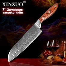 XINZUO NEW 7″ Japanese VG10 Damascus steel kitchen knives chef knives santoku knife with color wood handle free shipping