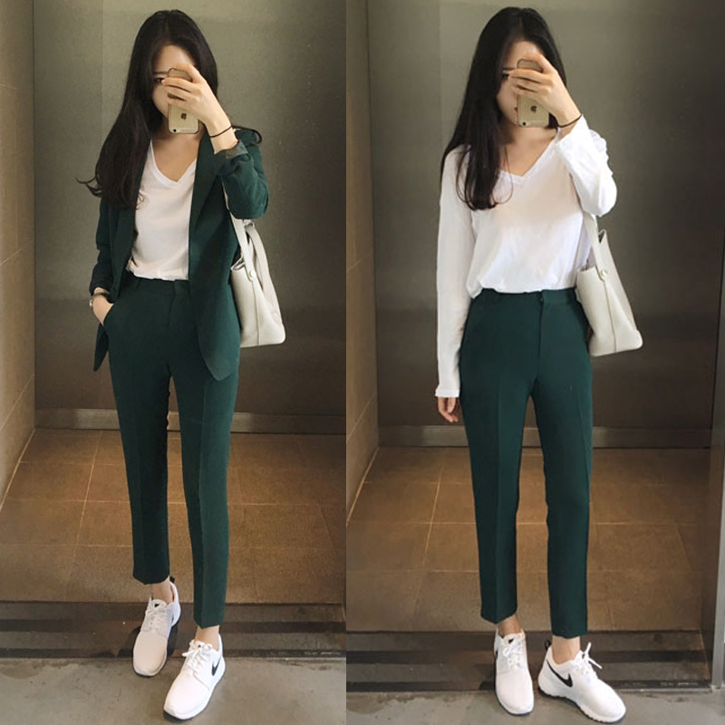 Suits women new Korean version of casual significantly thin suit jacket Harlan pantyhose female two-piece suit tide 2016 new arrival women s luxury jacket short paragraph korean version nagymaros collar female was thin tide coat mz575 page 4 page 3