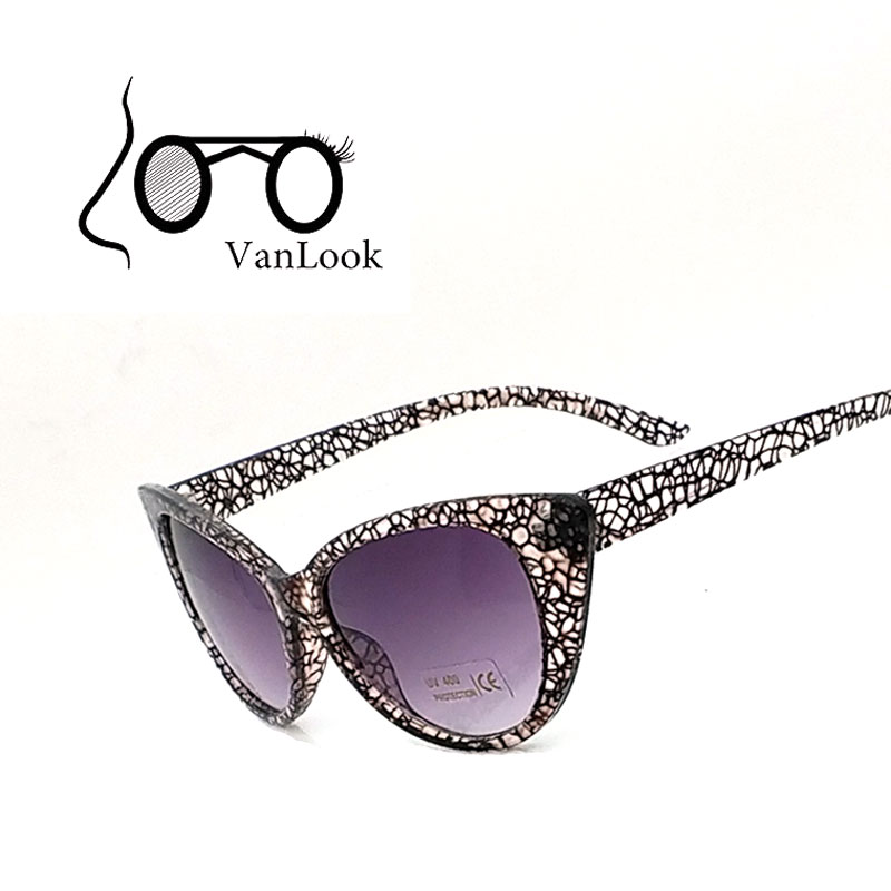 Damen Sonnenbrille Cat Eye Markendesigner Summer Style Sonnenbrille Oculos Feminino 100% Anti UV400 Kristallschildkröte PC-Rahmen