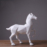 Modern Abstract White Horse Statue Resin Ornaments Living Room Decoration Accessories Gift Geometric Resin White Horse Sculpture