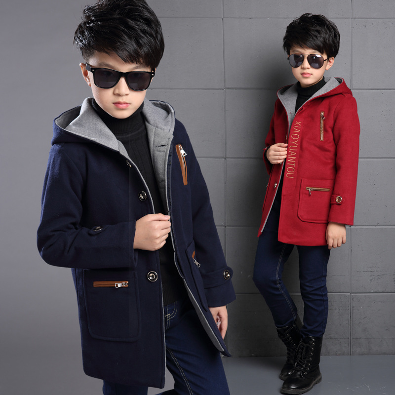 Boys wool coats autumn winter jacket for boys long sleeve coat cotton fashion children jacket Outerwear boys clothes 8 10 12 Y winter large boys long coat blue navy long jacket boys autumn jacket hooded long sleeve french style free shipping