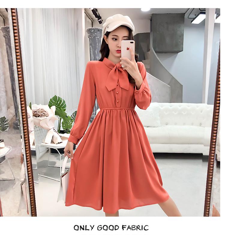 fashion bow collar women dresses party night club dress 2019 new spring long sleeve solid chiffon dress women clothing B101 25