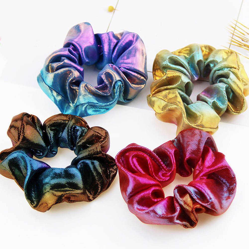 2019 mode Frauen Bunte Bronzing Elastische Haar Seil Glitter Pferdeschwanz Halter Haar Ring Zubehör Mädchen Scrunchie Headwear