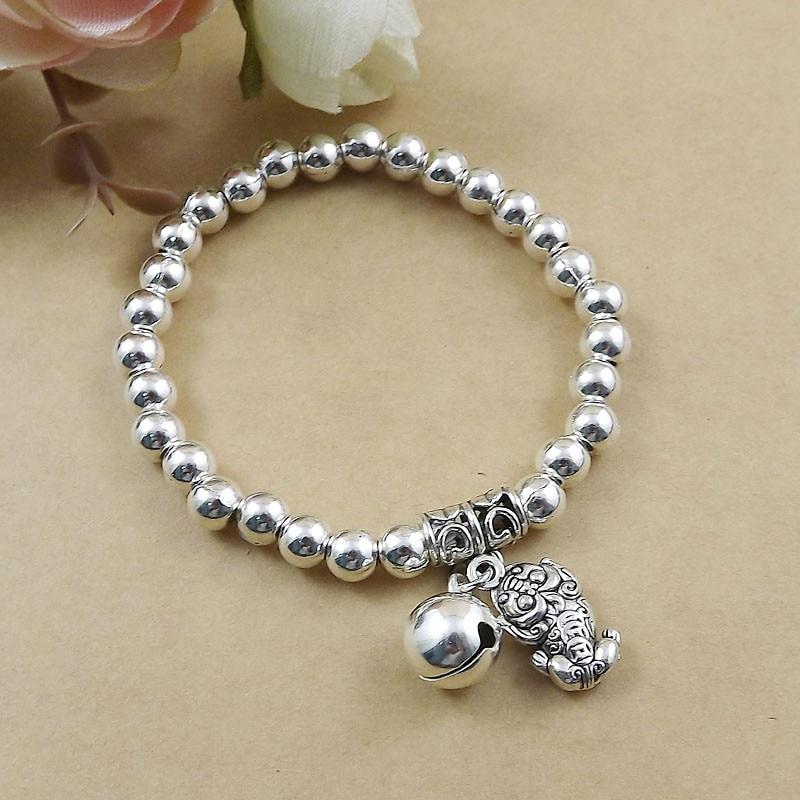 Crative Chinese mascot Silver beads Bracelet Wholesale Fashion Jewelry Silver Jingle bell Bracelet