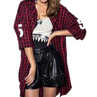 2016 Fall Plaid Shirt Coat Women Red Black Letter Number Print Long Blouses And Shirts Women