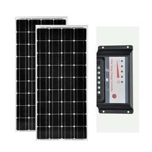 цена на Solar Kit 200w Solar Panel  12v 100w 2 Pcs Solar Charge Controller 12v/24v 30A PWM USB Caravan Car Camping Boat Outdoor LED