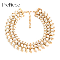 PrePiece Three Layer Pearl Gold Plated Choker Necklace New Arrival Trendy Fashion Party Jewelry For Women