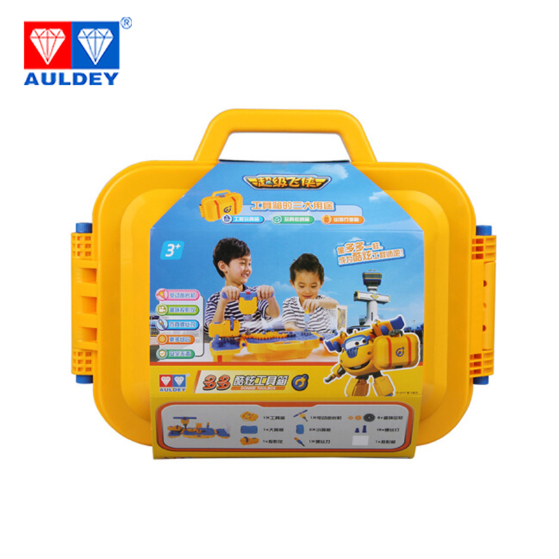 AULDEY Super Wings Donnie Cool toolbox SET Electric rock drill Fun projector Action Figures Toys Storage box Aniversario gifts auldey super wings toys action