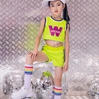 New Children Performance Costume Jazz Dance Set Vest+Short 2 Pieces Hip Hop Dance Costumes Competition Dancing Suits DL4006