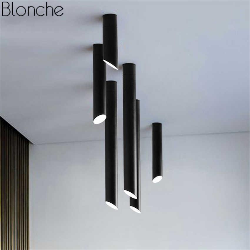 Скандинавские косой трубы для потолка светодиодные потолочные светильники черный/белый сочетание бамбуковые лампы для дома гостиной бар светильники
