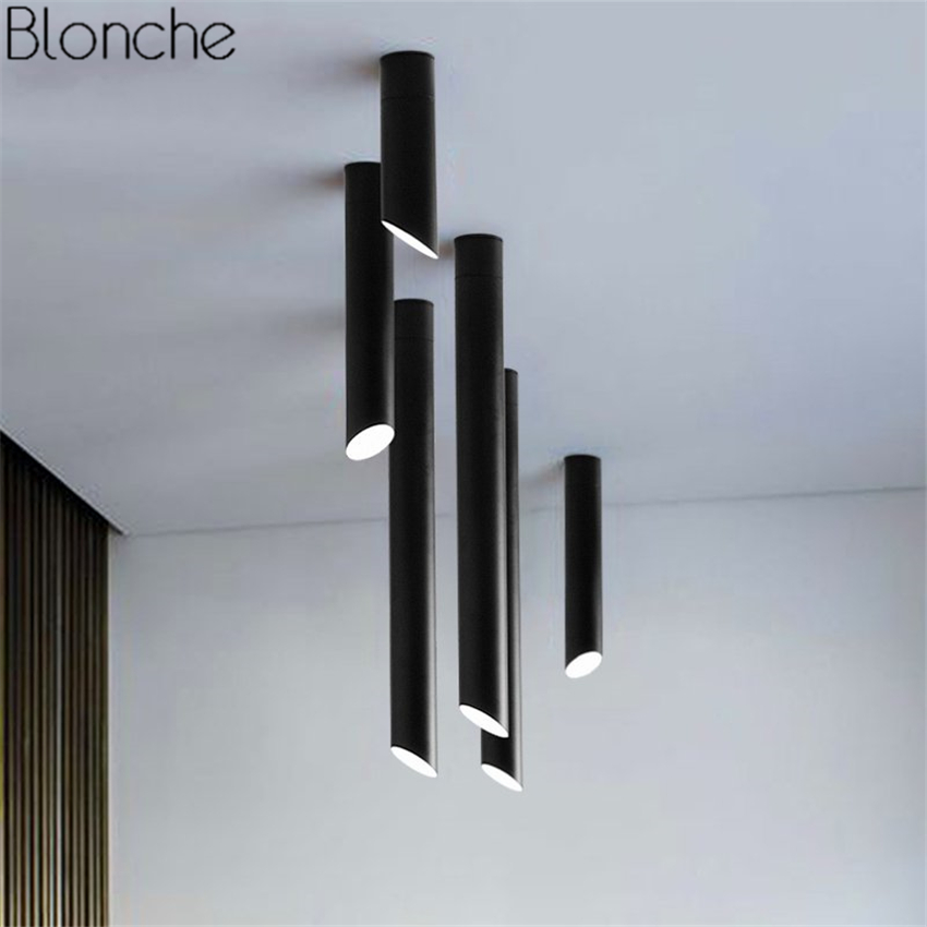 все цены на Nordic Oblique Tube Ceiling Lamp Led Ceiling Lights Black/white Combination Bamboo Lamps For Home Living Room Bar Light Fixtures онлайн