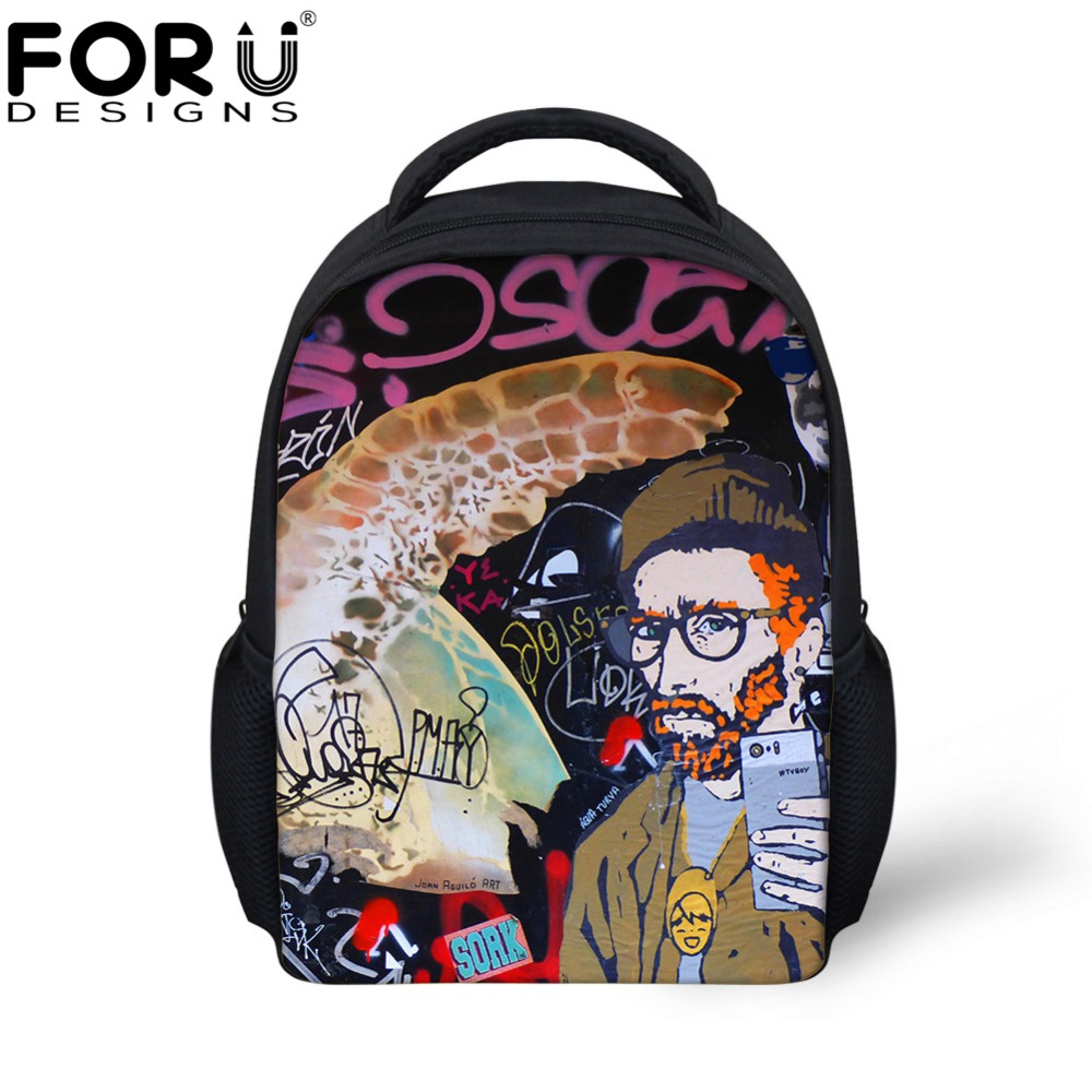 FORUDESIGNS 3D Fashion Graffiti Design Kindergarten Baby Book Bags Mini School Bags for  ...