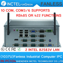 C1037U Fanless Industrial Computer with 10 serial ports 2 lan 4G RAM Onboard COM3 to COM6 can set R422 R485