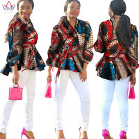 BRW Bazin African Wax Print Cotton Blazer Women Dashiki Trech Coat Long Sleeve Top Plus Size