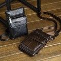 Nova Alta Qualidade do Couro Genuíno Caso Do Telefone Móvel Celular Pequeno Cinto de Ombro Messenger Corpo Cruz Saco Homens Fanny Cintura Gancho Pack