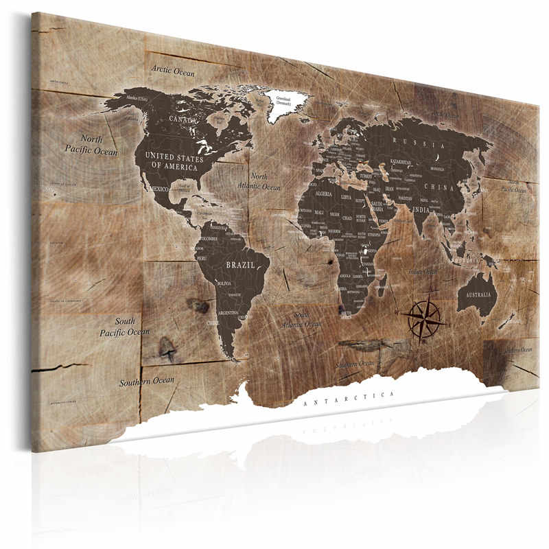 Canvas Painting Classical World Map Wooden Background Picture Modern Wall  Art Print Living Room Home Decor Poster No Frame
