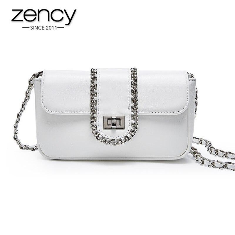 Zency 100 Genuine Leather Handbag Summer White Luxury Lady Crossbody Bag Chain Small Flap Party Shoulder