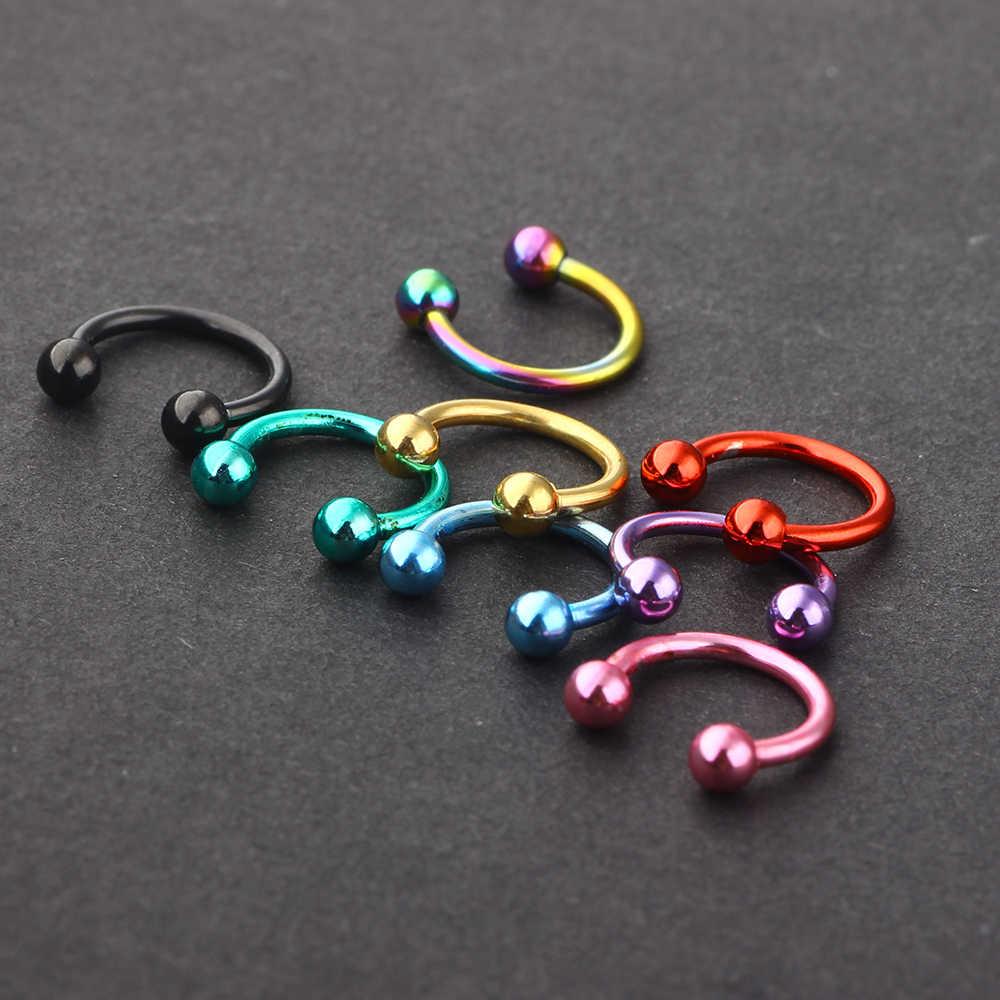 JUNLOWPY 1 pcs สแตนเลส 20g แหวนจมูก Septum Hoop Piercing Body เครื่องประดับ 8/10 มม. สกรู Studs กระดูกอ่อน Helix Tragus ต่างหู