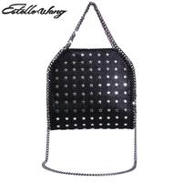 Estelle Wang Fold Over Import Pvc Leather Totes Handbags Cotton Three Chains Crossbody Bags Rose Woman Hand Bag With Metal Star