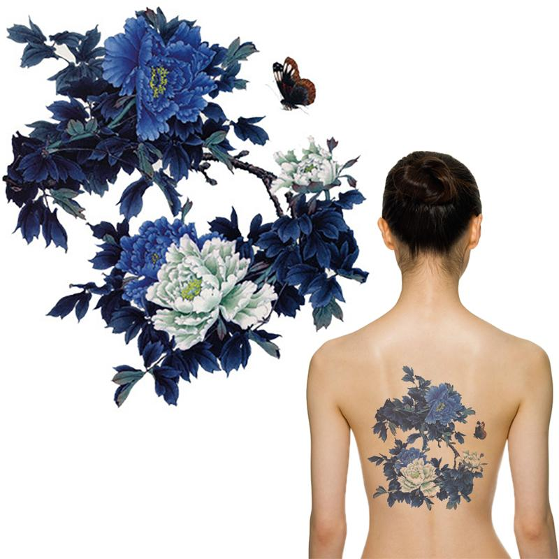 Aliexpress Com Big Flowers Waterproof Tattoo For Women Red And Purple Peonies Fake Lady Body Art Tattoos Mqc07 From Reliable