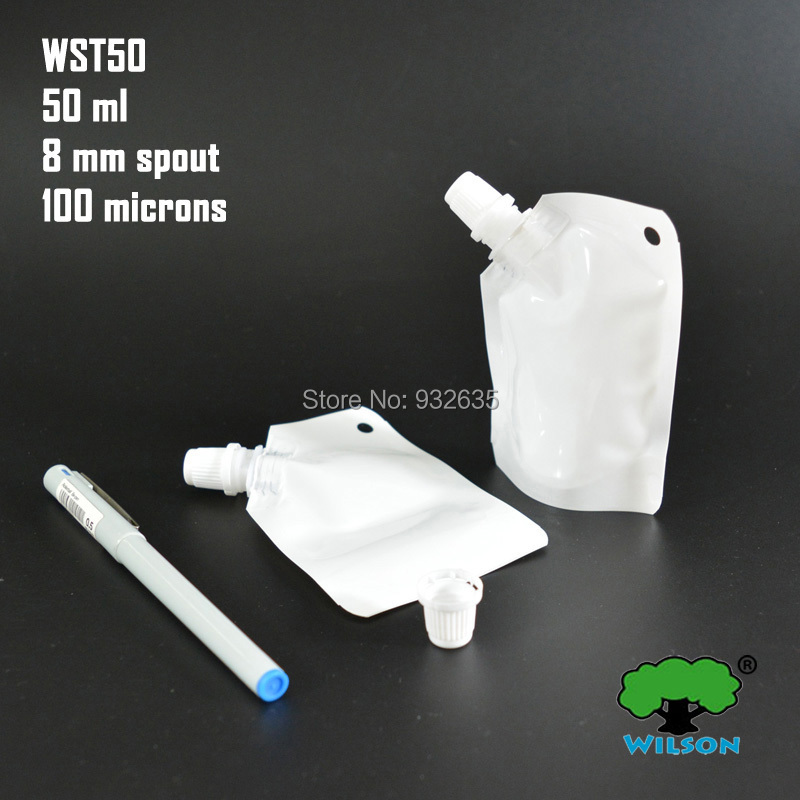 (50 ML) WST50 White Color Stand UP Spout Bag 20 PCS Sauce Laundry detergent Bathing Dew  ...