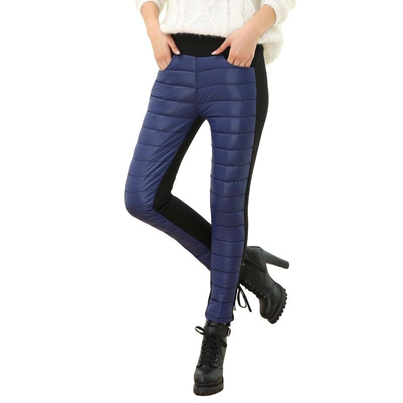 Thicken down Cotton Winter Warm Pants Women Elastic Waist Ladies Skinny Trousers Women's Casual Leggings Outwear Female Pants 11