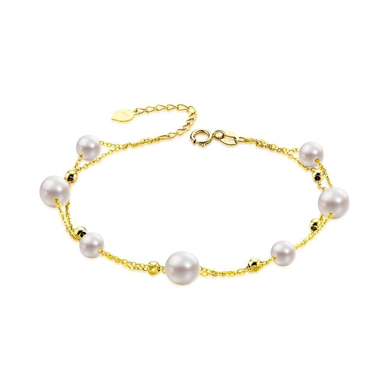 AINUOSHI 18 K or jaune perle de culture d'eau douce naturelle Bracelet femme élégante perle Pulsera Bracelet bijoux cadeau de noël