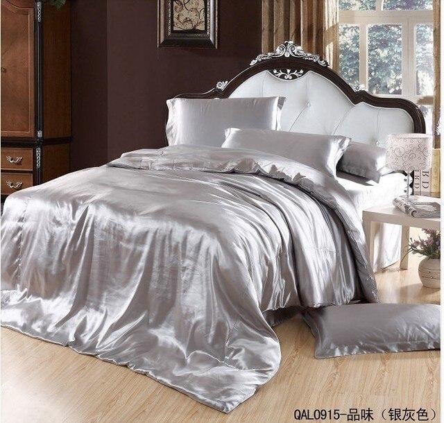 Silver Grey Silk Bedding set Satin sheets Super King size queen double  quilt duvet cover bedspreads bed linen bedsheet brand|linen bedsheet|silk  bedding setking size - AliExpress