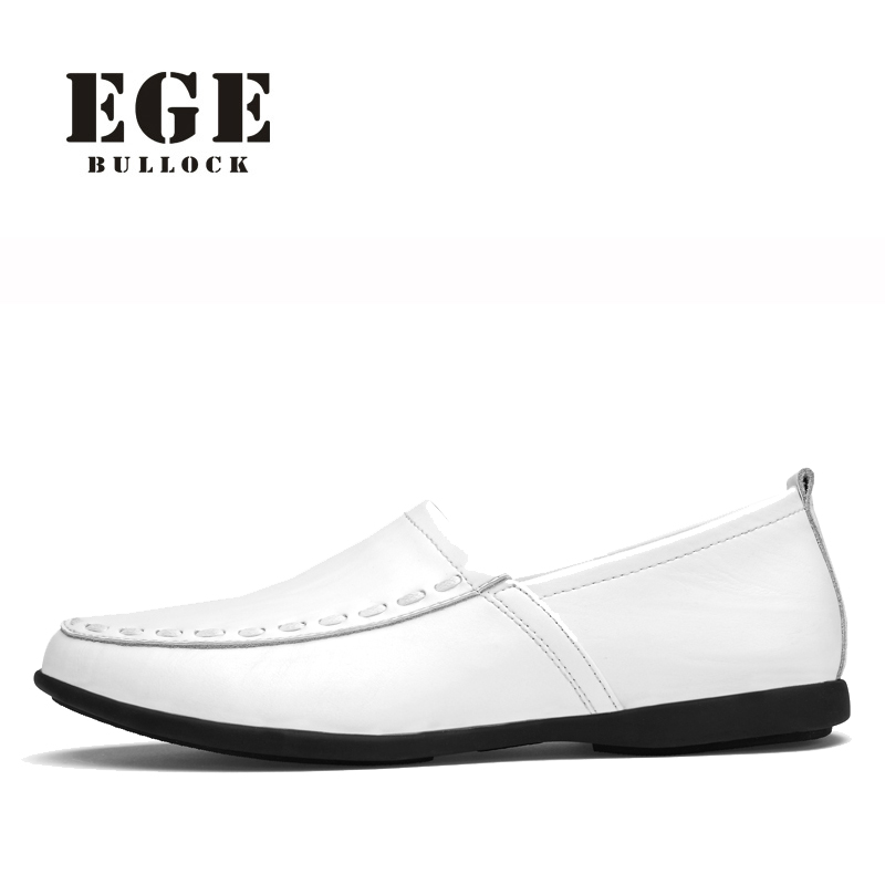 Driving Shoes EGE Brand Genuine Cow Leather Men Loafer High Quality Breathable Summer Male Shoes Big Size Casual Shoe for Men men luxury brand new genuine leather shoes fashion big size 39 47 male breathable soft driving loafer flats z768 tenis masculino