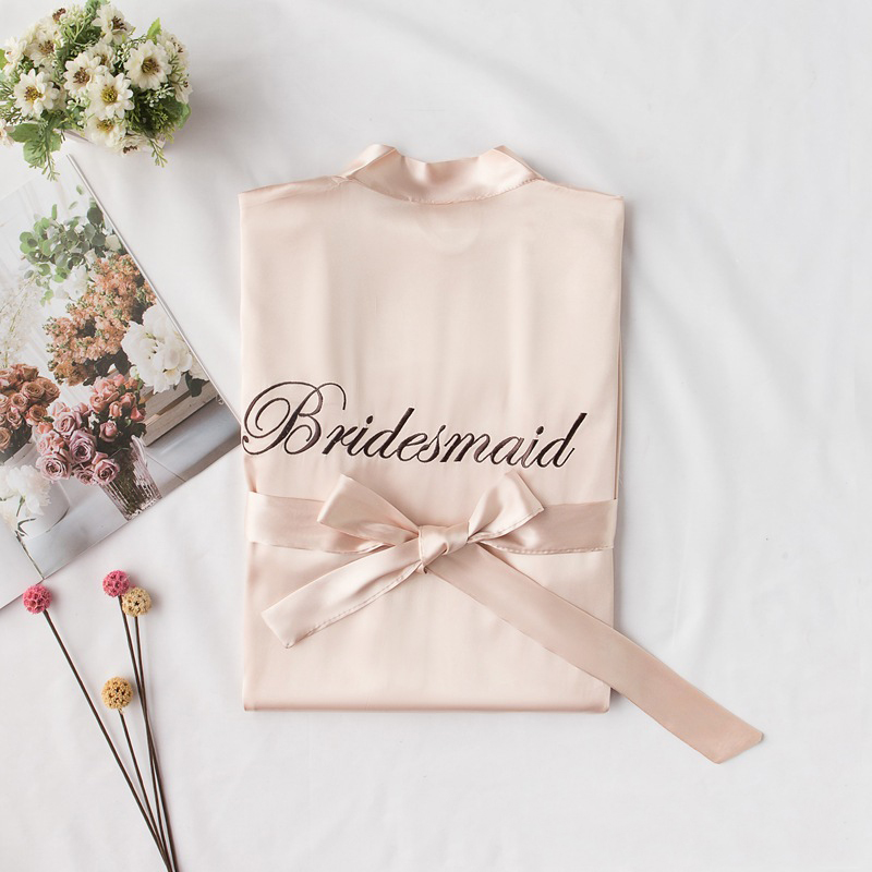CEARPION Bride Robe Embroidery quot bridemaid quot Women Bride Wedding Home Dress Casual Daily Kimono Bathrobe Sleepwear Nightgown in Robe amp Gown Sets from Underwear amp Sleepwears