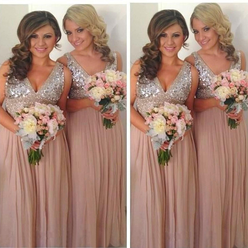Popular Sequin Bridesmaid Dresses Champagne-Buy Cheap Sequin ...