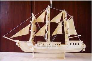Wooden model of three-dimensional puzzle wooden g-p049 sailboat
