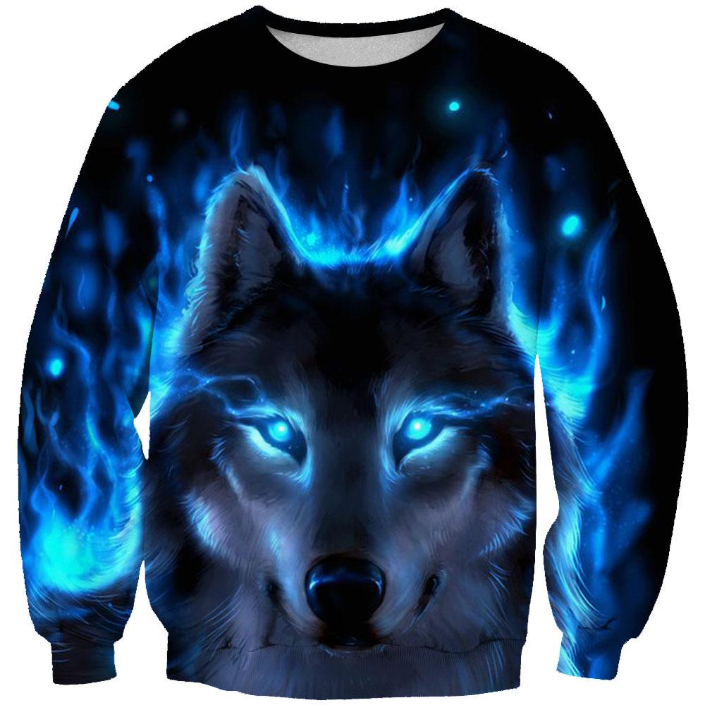 Pullover Strickjacken Frauen/männer 3d Druck Wolf Unter Die Mond Sweatshirts Tier Wolf Oansatz Langarm Sweatshirt Unisex Tops
