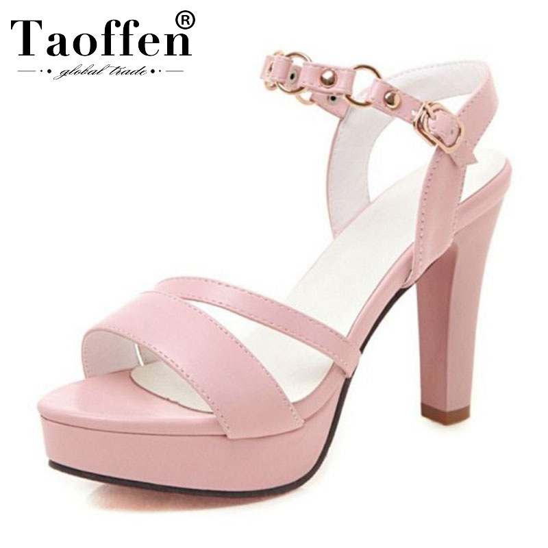 TAOFFEN Spring 2019 Metal Buckle Office Ladies Sandals Rivets Platform High Heel Summer Shoes Women Party Club Shoes Size 34-43TAOFFEN Spring 2019 Metal Buckle Office Ladies Sandals Rivets Platform High Heel Summer Shoes Women Party Club Shoes Size 34-43