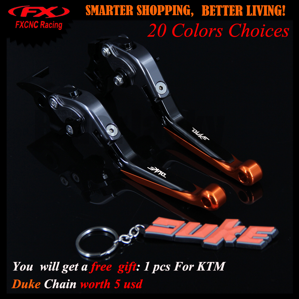 !Get 1 Pcs Free Duke KeyChain For KTM 690 Duke 2008-2011 2009 2010 CNC Adjustable Motorcycle Brake Clutch Levers With Logo