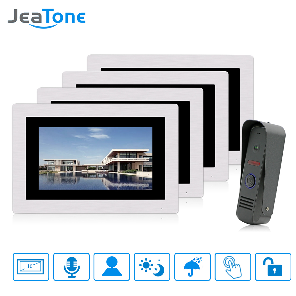 JeaTone 7 Inch Touch Screen Wired Video Door Phone Doorbell Intercom Kit 1-camera 4-monitor Night Vision Security Camera jeatone video phone home intercom audio doorbell 3 7mm pinhole cameras with 4 indoor monitor screen wired office intercom