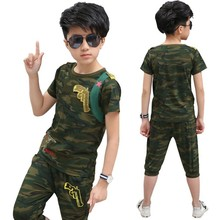 Camouflage Pistol Kid Clothes Cotton Short Sleeve T Shirt Calf-pants  Summer Children Outfits Boys Clothes Girls Sets Clothing цена 2017