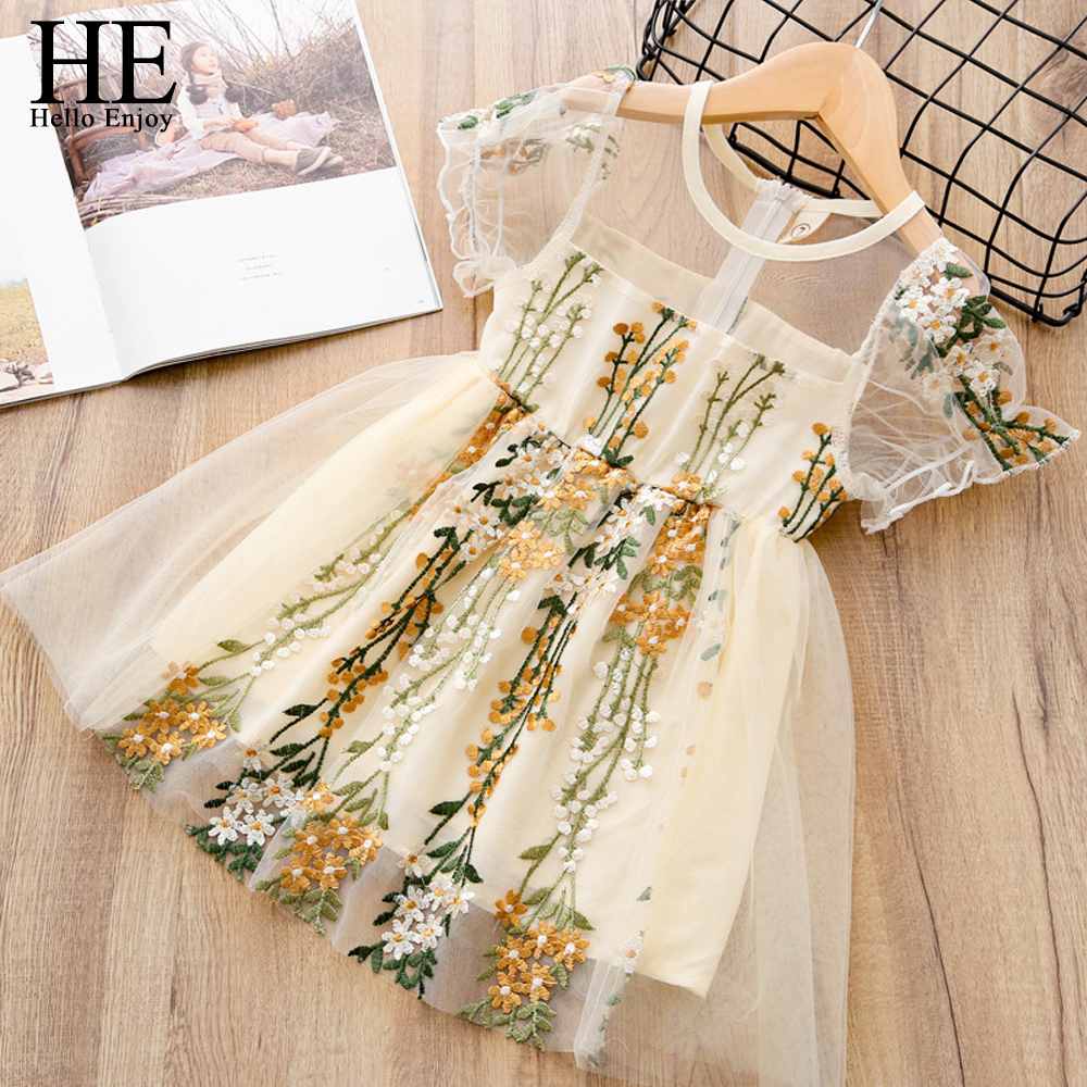 HE Hello Enjoy Summer Girls Dresses Wedding Embroidery Princess Dress Tulle Elegant Cute Children Clothing Girls Kids Clothes
