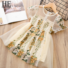 HE Hello Enjoy Summer Girls Dresses Wedding Embroidery Princess Dress Tulle Elegant Cute Children Clothing Kids Clothes