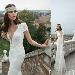 !Berta Wedding Dresses Backless bohemian wedding dress mermaid lace real pictures cap sleeve bridal gown sexy - Weddings & Events Collection store