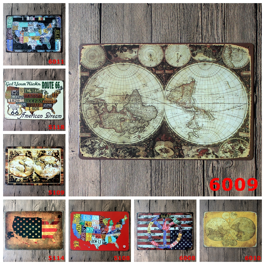 United States Map Logo Plaque Vintage Metal Painting Wall Sticker Iron Sign Board Decorative Plates Poster Wholesale 20X30 CM