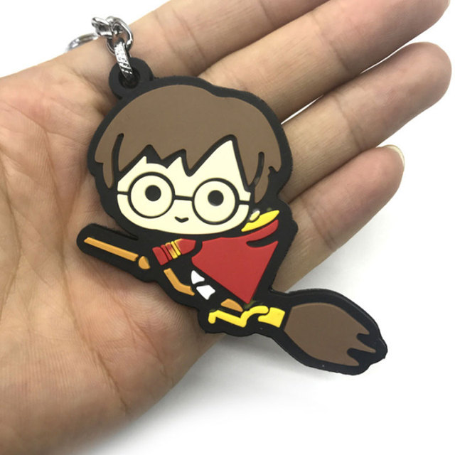 3D Harry Potter PVC Keychain Toy Dobby Hermione Granger Malfoy Ron Weasley Snape Action Figure Toys Party Cosplay PVC Key Ring 4
