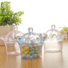 Romantic Transparent Crown Sharped Plastic Candy Box For Wedding Birthday Party Decoration Supplies Gift for Kids 3 Colors