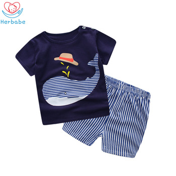 Herbabe Carters Baby Boy Clothes Sets for Newborn Kids O-Neck Print T-Shirt Pant Summer Boys Clothing Infant Toddler Outfits Set levi s baby boys newborn coulter pant