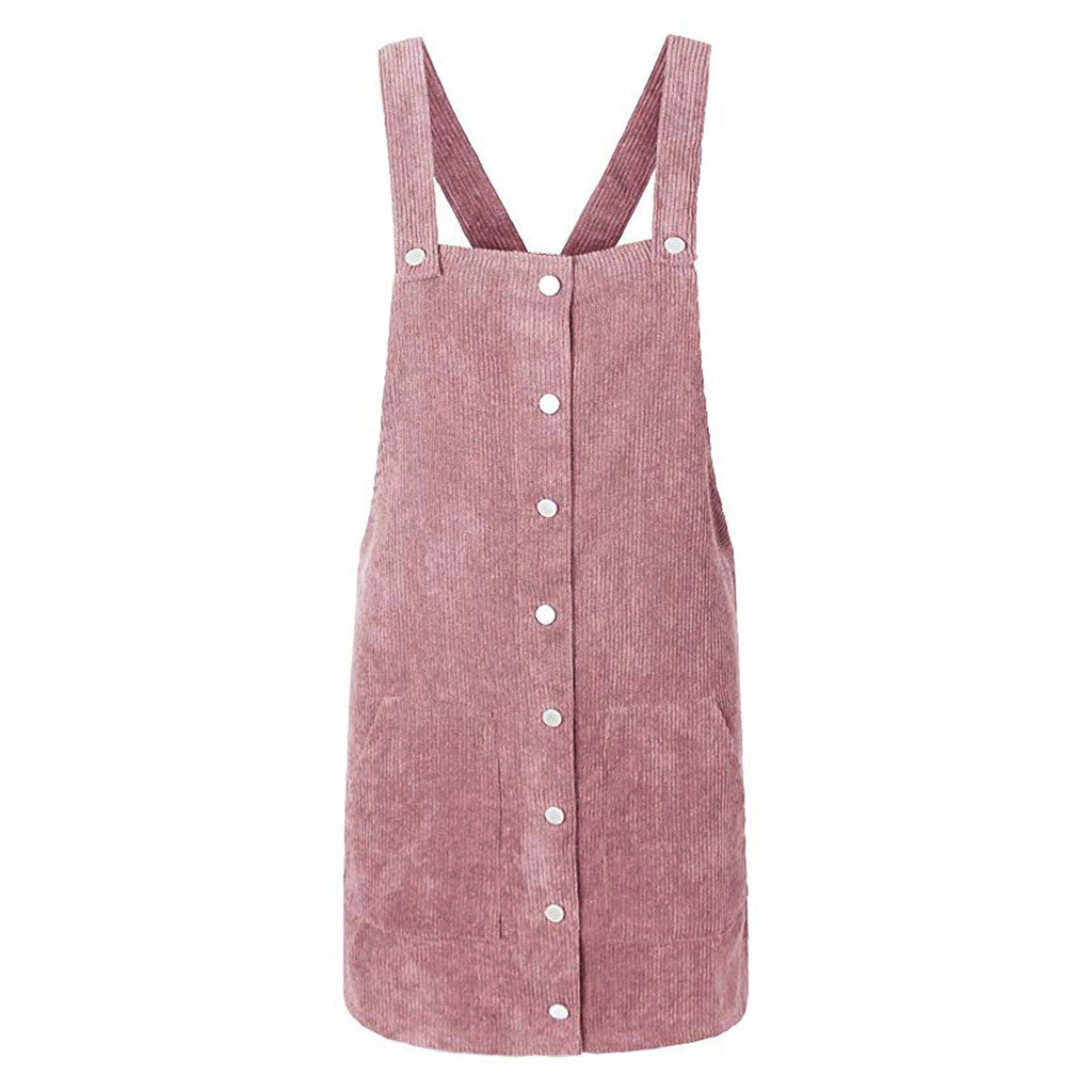 HTB1FQ5Qa2fsK1RjSszbq6AqBXXaA Free Ostrich 2019 Pink Wick Velvet Women Corduroy Straight Suspender Mini Bib Overall Pinafore Casual Button Dress Hot Sales