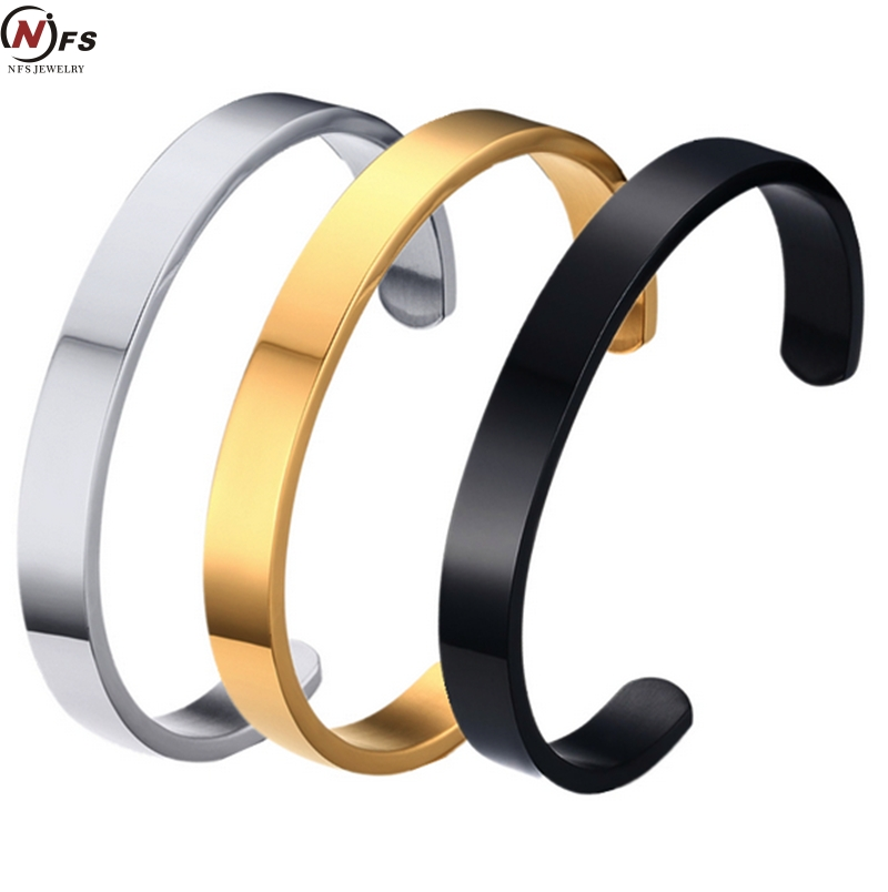 Nfs Brand New Black Gold Silver Customized Jewelry Engraving Stainless Steel 6mm 8mm Men Engravable Cuff Bracelet Bangle In Bracelets From