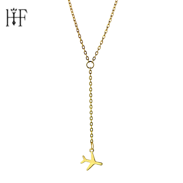Rose Gold Gun Black Airplane Necklaces & Pendants aircraft Layered Lobster Clasp Link Chain Necklace Statement Women Jewelery